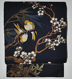 梅に鶯刺繍名古屋帯