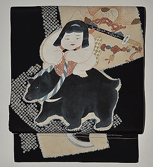 金太郎の図染め名古屋帯