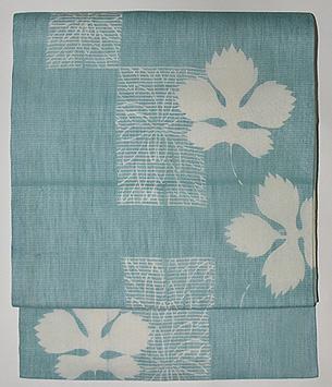 菊と楓の葉麻名古屋帯