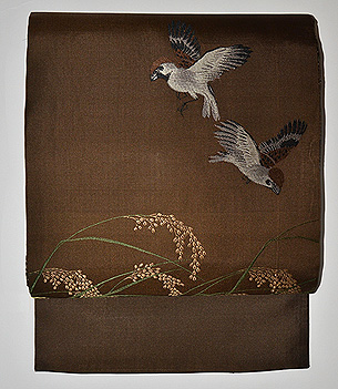 雀と稲穂織り名古屋帯