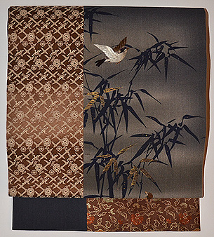 竹に雀切継名古屋帯