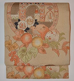 薔薇と果物の名古屋帯