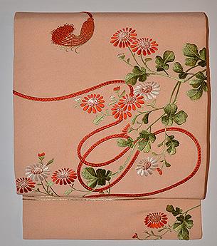 小菊に組紐の図名古屋帯