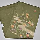 抹茶地紅花に菊刺繍名古屋帯 帯裏