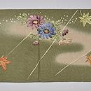 抹茶地紅花に菊刺繍名古屋帯 前中心