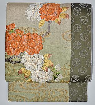 観世水に桜の図刺繍開き名古屋帯