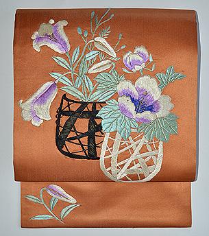花籠文刺繍名古屋帯