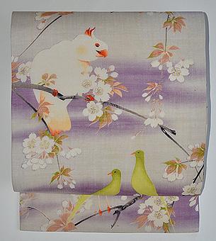 桜にオウムとカナリア名古屋帯