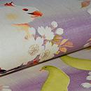 桜にオウムとカナリア名古屋帯 質感・風合