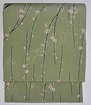 枝垂れ桜紋錦紗名古屋帯