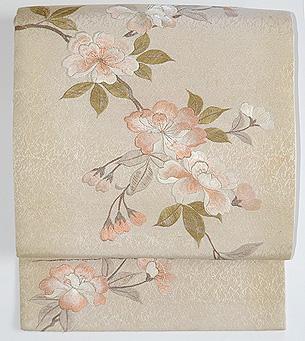 八重桜刺繍開き名古屋帯