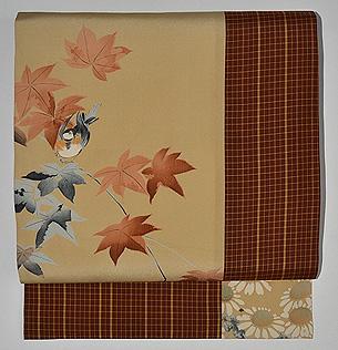 秋草と雀の図染め名古屋帯
