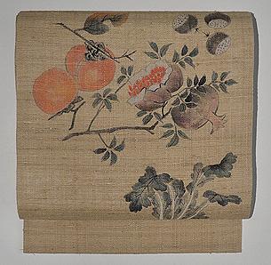 豊穣の秋の図紬開き名古屋帯