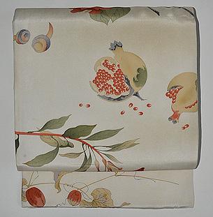ボタニカルアート調植物の図名古屋帯
