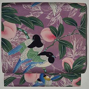 桃に尾長鳥の図染名古屋帯