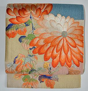 市松地に刺繍菊文様開き名古屋帯
