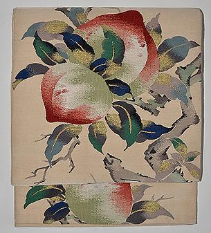 桃の図綴れ袋帯