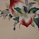 桃の図綴れ袋帯 前中心