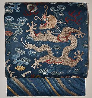 雲文宝珠に昇り龍の図刺繍名古屋帯