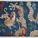 雲文宝珠に昇り龍の図刺繍名古屋帯 前中心