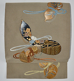 瓢箪の図刺繍付帯