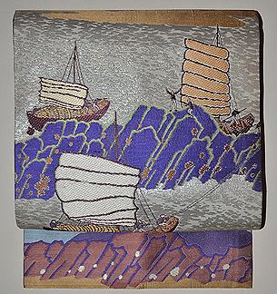 帆船の図名古屋帯