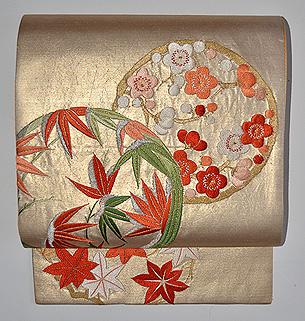 金襴花丸紋開き名古屋帯