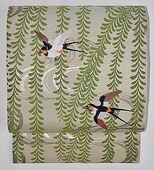 枝垂れ柳にツバメの図開き名古屋帯