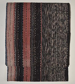 墨黒地経縞手織り木綿地名古屋帯
