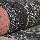 墨黒地経縞手織り木綿地名古屋帯 質感・風合