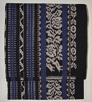 藍地花モチーフ織文様木綿地名古屋帯