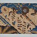 手描きろうけつ染草花と鳥の図名古屋帯 前中心