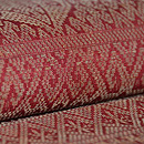 茜色格子文様浮かし織名古屋帯 質感・風合