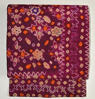 絞りプランギン手紡ぎ絹地名古屋帯