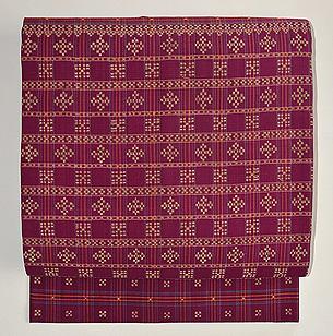 赤紫地金モール花織名古屋帯