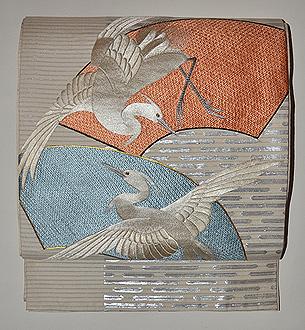 扇面に鷺の図丸帯