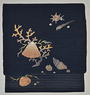 海松貝刺繍絽綴れ帯