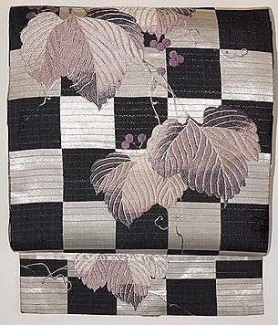 市松に葡萄の刺繍名古屋帯