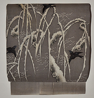 雪持柳に烏の名古屋帯