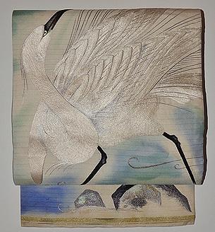 白鷺の刺繍丸帯