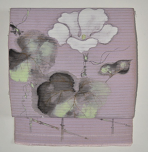 垣根にへちまの花絽名古屋帯