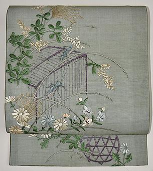 虫籠に秋草紗名古屋帯