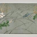 虫籠に秋草紗名古屋帯 前中心