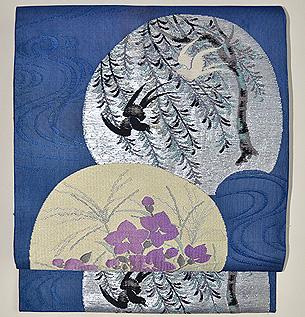 扇面の図紋紗名古屋帯