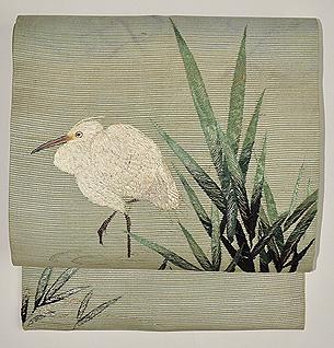 白鷺の刺繍絽名古屋帯