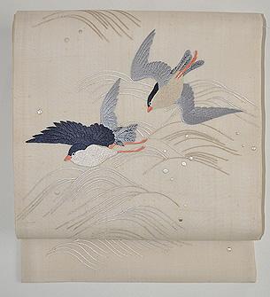 波間に舞う鳥の図名古屋帯