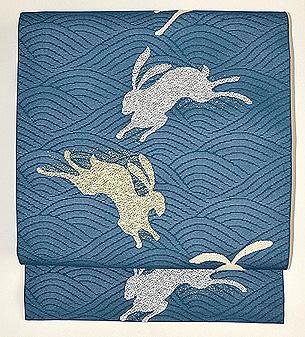 波兎の図紋紗地名古屋帯
