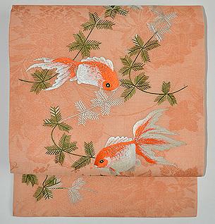 水草と金魚紋絽名古屋帯