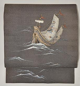 舟の図刺繍名古屋帯