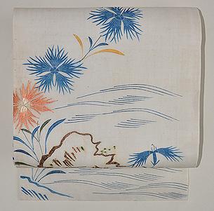 江戸帷子解き名古屋帯(撫子の図)